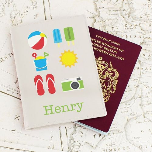 Personalised Bright Travel Cream Passport Holder